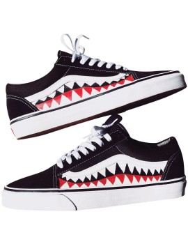 Remix Line Custom x Vans Old Skool Shark Teeth Noir/Blanc