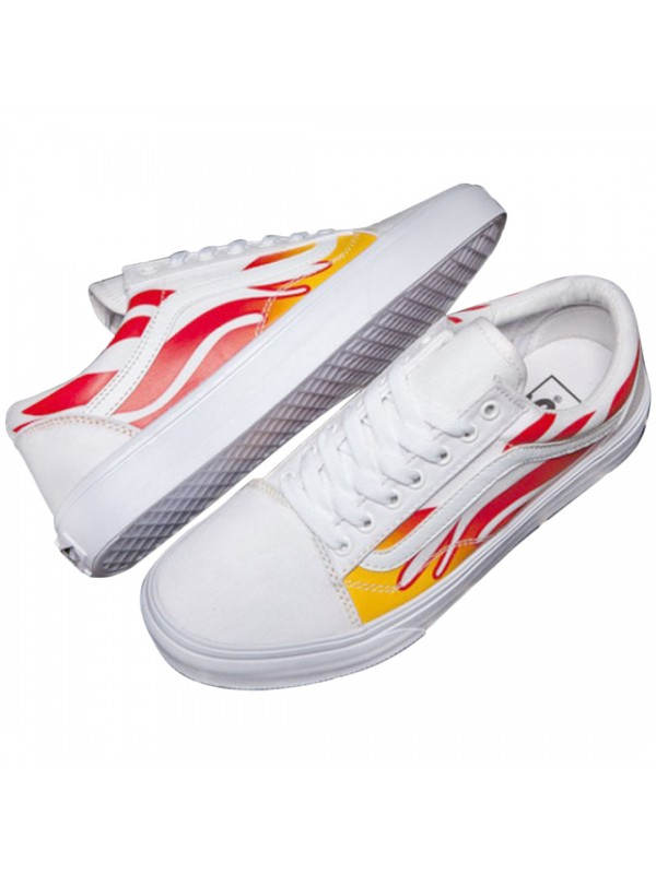 7b9d882a6b4 Remix Line Custom x Vans Old Skool Flame White White