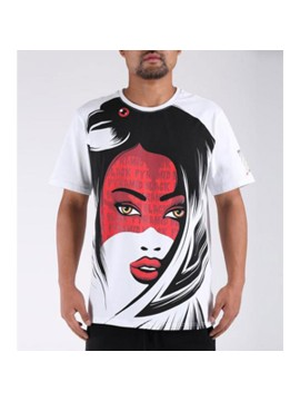 Black Pyramid Girl Face T-Shirt Blanc