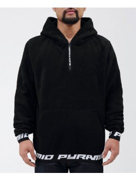 Black Pyramid Full Sherpa 1/2 Zip Logo Sweat Capuche Noir
