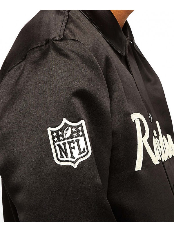 New Era NFL Oakland Raiders Satin Coaches Jacket Black