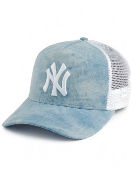 New Era Women Adjustable New York Yankees Tie Dye A-Frame Trucker Light Blue