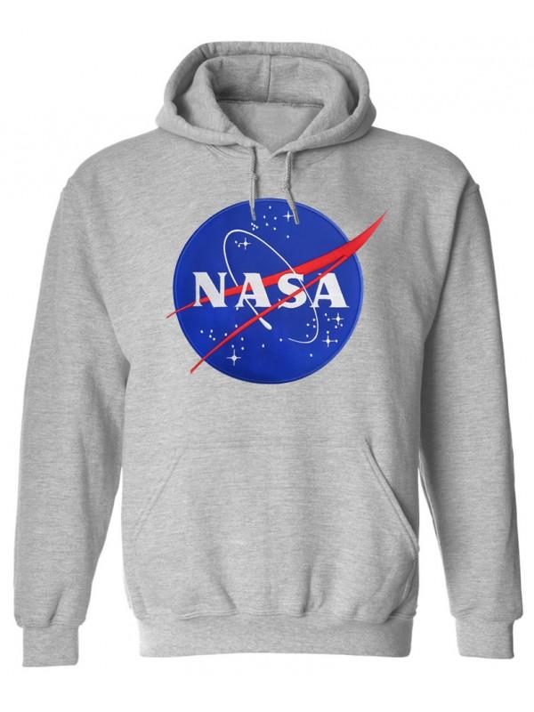 NASA Logo Brodé Sweat Capuche Gris
