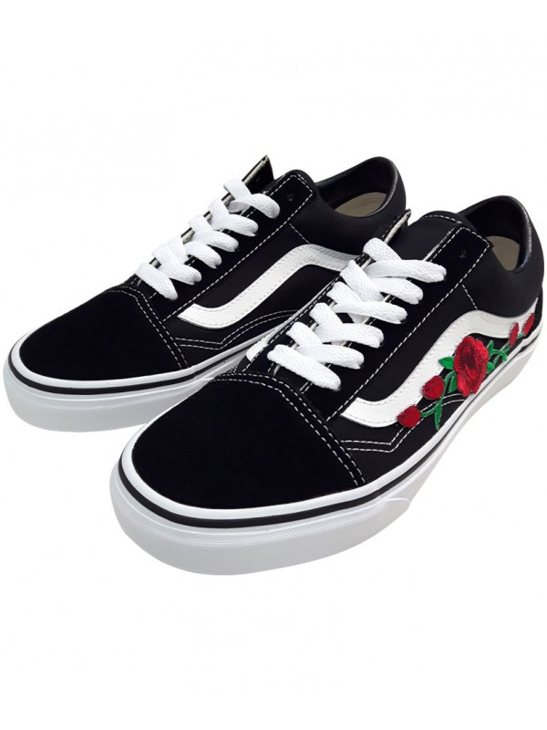 Vans Old Skool Roses Rouges Patchs Brodés Remix Line Custom