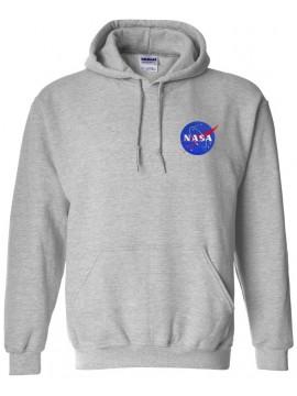 NASA Logo Brodé Sweat Capuche Gris - Logo Coeur