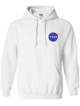 NASA Logo Brodé Sweat Capuche Blanc - Logo Coeur