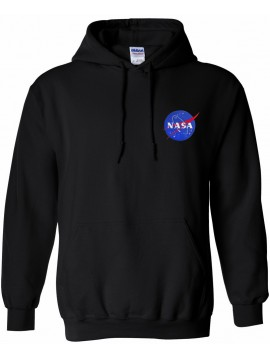 NASA Patch Embroidered Hoodie Black - Heart logo