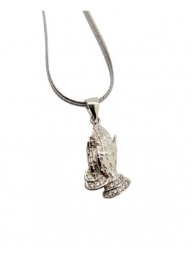 Necklace Jesus Praying Hands With Stone In Zircon