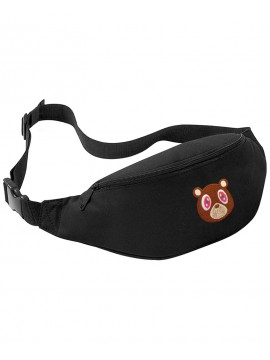 RXL Paris Teddy Bear Embroidered Patch Belt Bag - Black