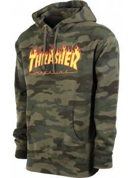 Thrasher - Flame Logo Hoodie Forest Camo
